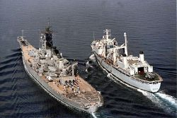 The HMCS Protecteur, one of the supply vessels to be replaced in the Joint Support Warship contract, fuels the American warship USS Wisconsin in the Persian Gulf in this 1991 file photo.