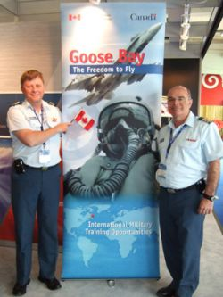 Major Robert Kendall, left and Lieutenant Colonel Alain Bisson of the Canadian Armed Forces were at the 2009 Paris Air Show promoting the DND-NATO foreign military training facility in Goose Bay.