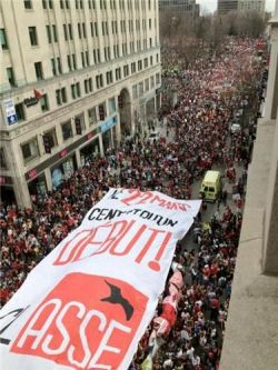 Protest in the streets of downtown Montreal (photo courtesy of Montreal Media Co-op).