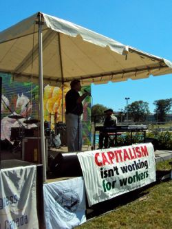 Rick Clarke speaks to workers and their families at this year's Labour Day celebrations. <br> Photo by Tony Tracy