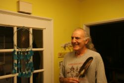 Bill Lewis, at Home, with Eagle Feather