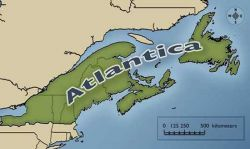 Map shows U.S. and Canadian territory to come under the dictate of this annexationist project. Since this map was published, Newfoundland and Labrador have been incorporated into the Atlantic Gateway project.