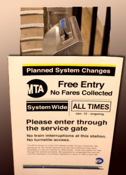 A poster from the MTA fare strike in New York City.