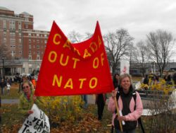 Anti-Nato banner at the 2011 rally in Peace & Freedom Park across from the Westin Hotel