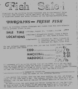 Local 'fish sales' helped raise money for the striking fishermen. Courtesy of NS Archives.