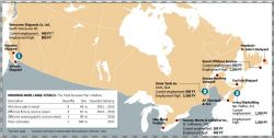 Principal Canadian shipyards (Infographic from the Globe and Mail)