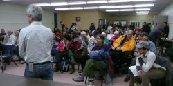 An information session on the homeless crisis draws a huge crowd.  Photo: Hillary Lindsay