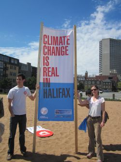"Graham Girard and Linda Davis at Halifax at 350.org Halifax climate change event ""Connect the Dots"" 2012 Photo by Chris Majka"