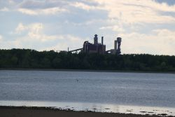 Northern Pulp mill, inoperational at sunset on Friday, June 13th, normally spews a cloud of smoke of varying shades of grey. [Photo: Miles Howe]