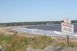 Instead of Swimmers, Now Sinkholes Favour Moody Point in Pictou Landing. Photo: Miles Howe