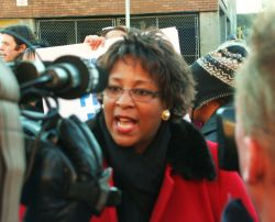 Rev. Rhonda Britton in Post-Rally Media Scrum. Photo: Miles Howe