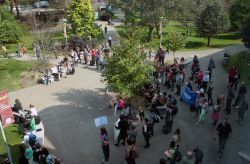 About 110 people attended the rally at SMU. (Photo by Hilary Beaumont)