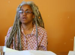"""Shari Clarke spoke at the launch of the CCPA report.  Illness forced her to apply for Income Assistance.  """"I became part of a system that had total control on whether or how I was going to have basic needs met,"""" said Clarke. Photo by Robert Devet"""