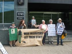 Members of the Halifax Peace Coalition outside the Citizen and Immigration Office in Halifax [Photo: Tamara Lorincz]
