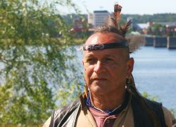 gkisedtanamoogk of the Wampanoag - The Wabanaki Confederacy Council&#039;s fire keeper. [Photo: Miles Howe]