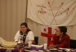 Clair and Patles hold press conference in Elsipogtog [Photo: M. Howe]