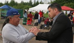 Elsipogtog war chief John Levi and Listuguj chief Dean Vicaire [Photo: M. Howe]