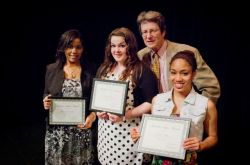 Andrew Safer, a founder of The Voice, with the three recipients of the Andrew Safer Award: Alexandra Randolph, Tamara Cooper, and Kimber Wesley. (Photo Credit: John Chiasson)