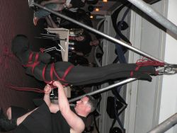 Kale and Kabe demonstrate rope suspension