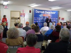 Darrell Dexter, leader of the Nova Scotia NDP, speaking at the Sackville Heights Community Center