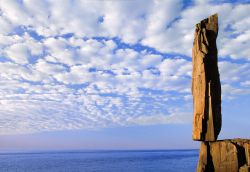 "Photo credit of basalt shard ""Balancing Rock"" on the Bay of Fundy coastline: Copyright Stephen Patterson"