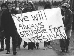 Innu women demonstrate in the mid-1980s against NATO overflights and for self-determination for their homeland which they call Nitassinan.