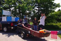 Small Scales contributor Sadie Beaton wonders if Nova Scotia is embarrassed about celebrating local small-scale fisheries.  Photo: Community Supported Fisheries Float at Long Island Days. By Laurie Thurber.