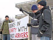 Strike support outside Lansdowne Park, Ottawa