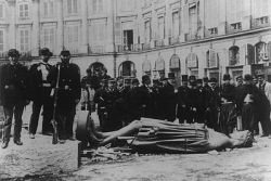 A statue of Napoleon toppled during the Paris Commune of 1871. (André Disdéri photo via Wikipedia)