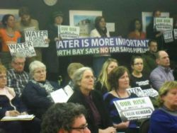 Council chambers were packed beyond capacity on Tuesday evening, filled with local residents who were eager to voice their concerns regarding the Energy East Pipeline Project, set to run through North Bay. (baytoday.ca Feb. 19, 2014)