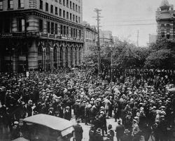 The first minimum wage in Canada was accepted by business leaders shortly after the Winnipeg General Strike of 1919, when workers protested poor wages and working conditions. (photo courtesy of Library and Archives Canada via en.wikipedia.org)