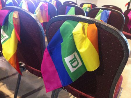 Rainbow flags, with TD logo. But what are sponsors doing for the community throughout the year? Photo Rebecca Rose