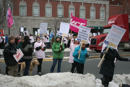 Nurses and home support workers rally at the Liberal AGM, March 29.  Photo Robert Devet