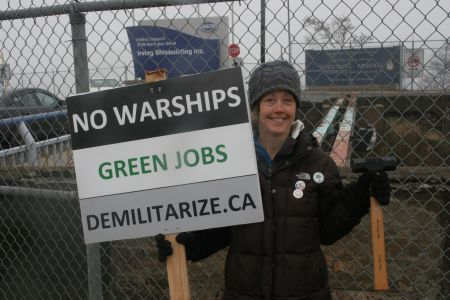 Tamara Lorincz can be found every Wednesday at noon hour outside the Irving Shipyards, protesting the National Shipbuilding Procurement Strategy. [Photo: M.Howe].