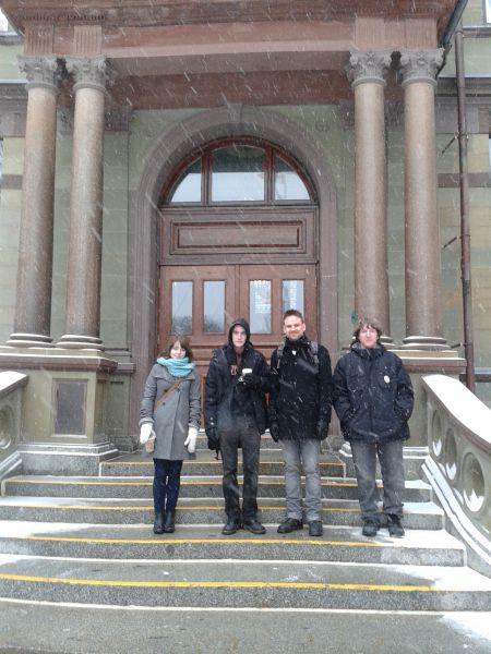 NS ACORN members (from left to right) Victoria Ryan, Isaac Crosthwaite, Scott Domenie, and Jonethan Brigley. Domenie and Brigley responded to Leo Glavine's article with a letter of their own, asking the Minister to try living on income assistance for six months (photo courtesy ACORN)